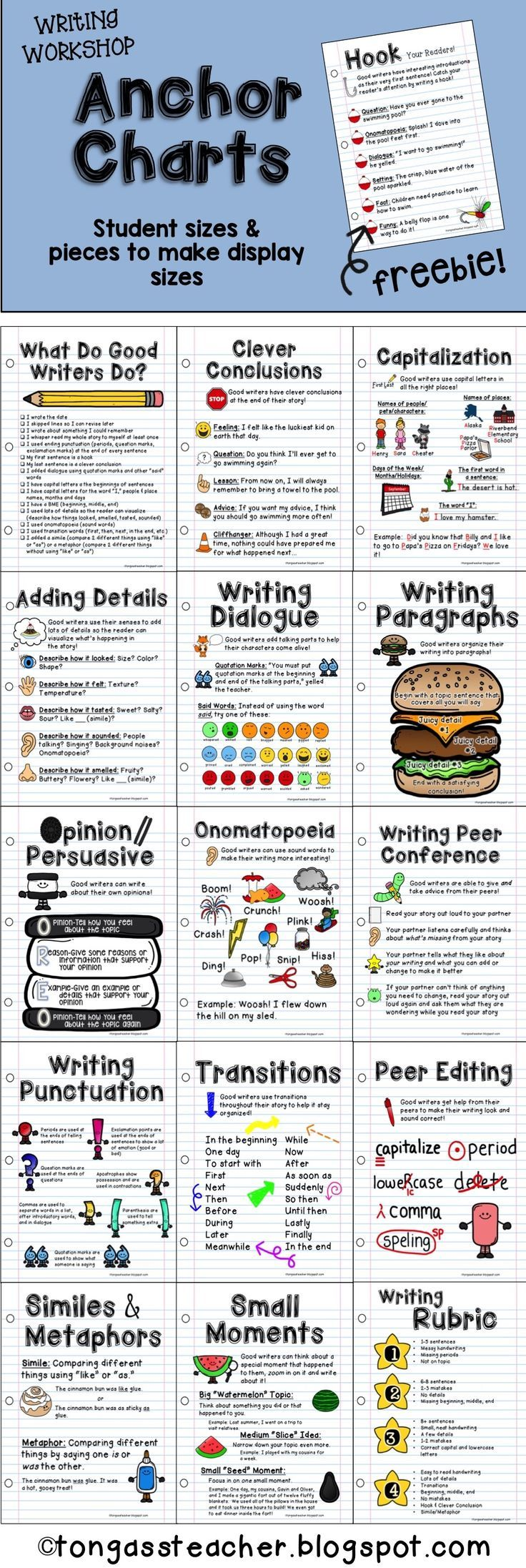 Writing Workshop Anchor Charts--try the FREEBIE! Buy individually or purchase the bundle and SAVE!: