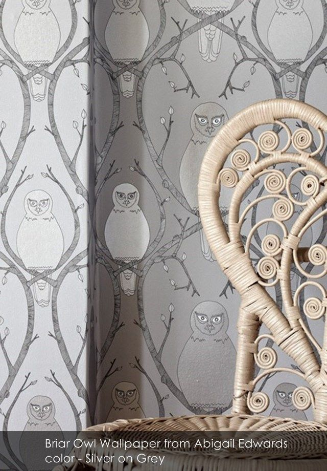 Briar Owl wallpaper from Abigail Edwards in Silver on Grey