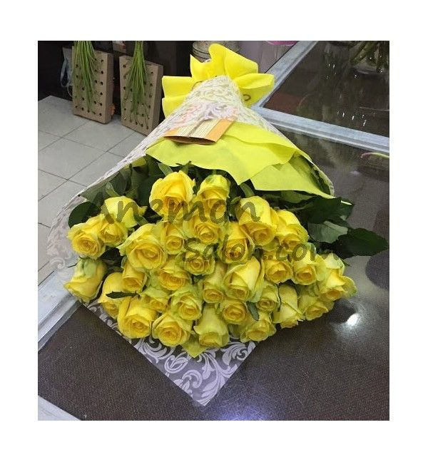 33 Yellow Roses Gift Wrapped Rose Gift Yellow Roses Flower Delivery
