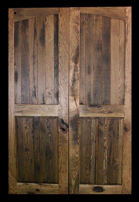 "Dual ""French"" Sliding Doors - Reclaimed Oak & Wormy Chestnut  (Pair) on Etsy, $2,699.00"