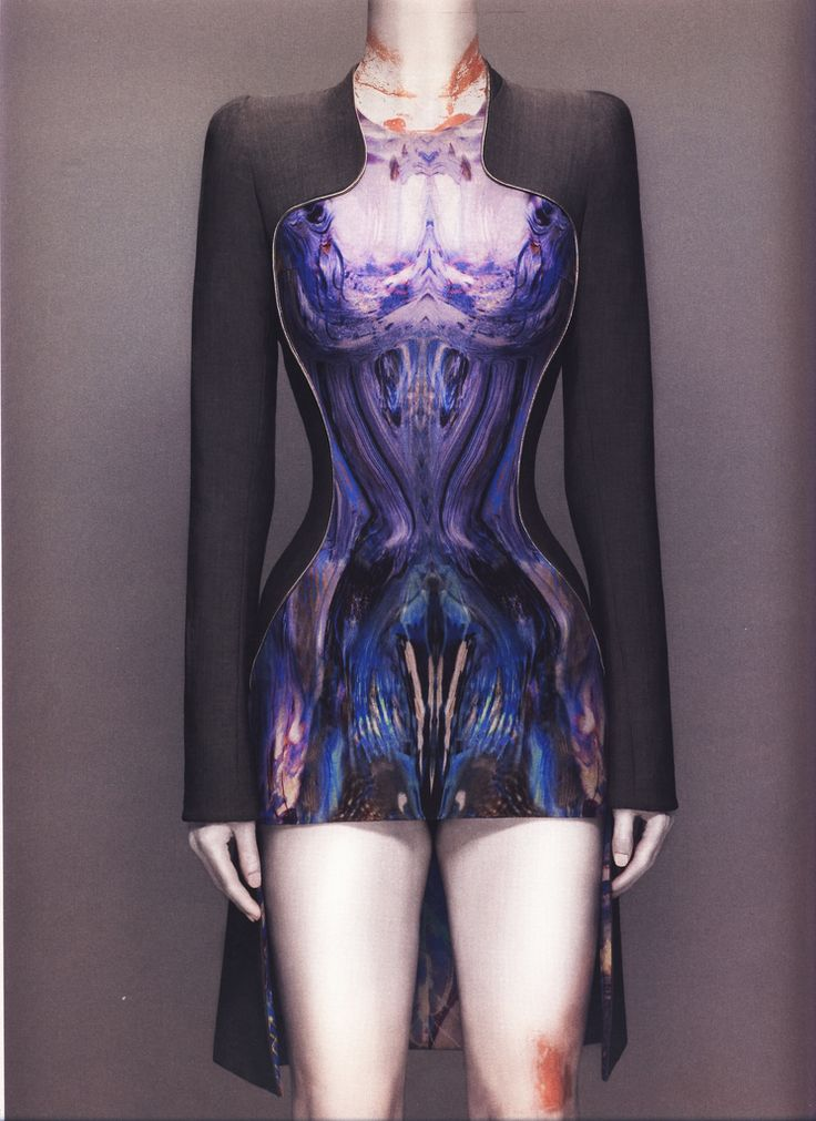 Alexander McQueen Spring/Summer 2010  Dress, Plato's Atlantis Gray wool and silk/synthetic printed in jellyfish pattern   Photographed by Sølve Sundsbø for Alexander McQueen: Savage Beauty