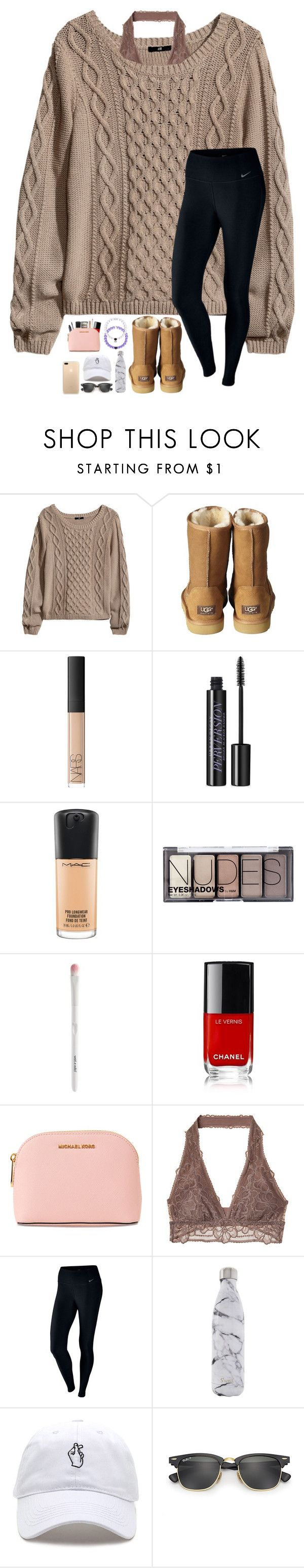 """Illuminate is perfection"" by lovemyariana ❤ liked on Polyvore featuring H&M, UGG Australia, NARS Cosmetics, Urban Decay, MAC Cosmetics, MICHAEL Michael Kors, NIKE, S'well and Ray-Ban"