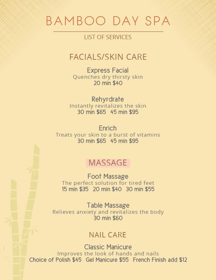 Spa And Massage Parlor Price List Flyer Template Spa Flyer Spa Prices Massage Prices