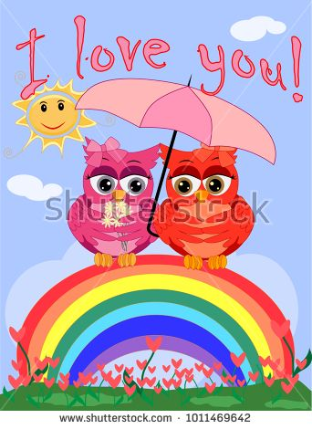 Two pink, moth-owl-girls sit on a rainbow under a pink umbrella. The inscription I love you. Concept of homosexual female love, postcard