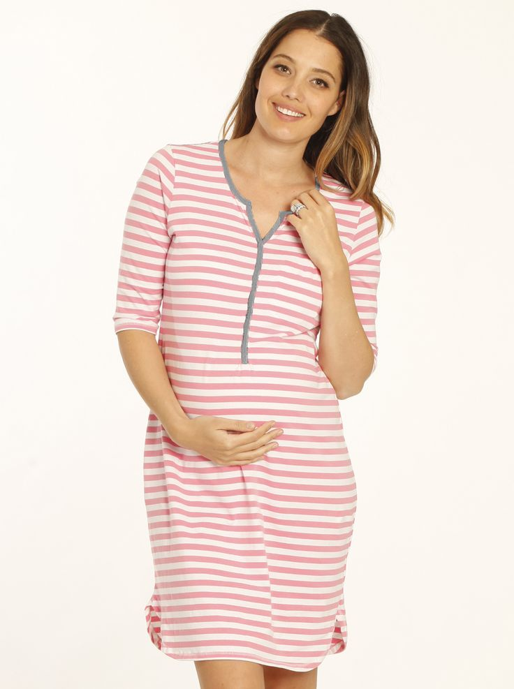 Button Front Nursing Night Dress - Pink Stripes, $49.95, down to just $35, is a cute, comfy night dress with easy nursing access.
