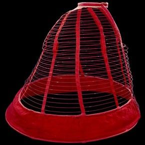 Crinoline cage from about 1860. A crinoline was a stiff wired hoop skirt that would go under women's dresses to keep them in a particular shape.