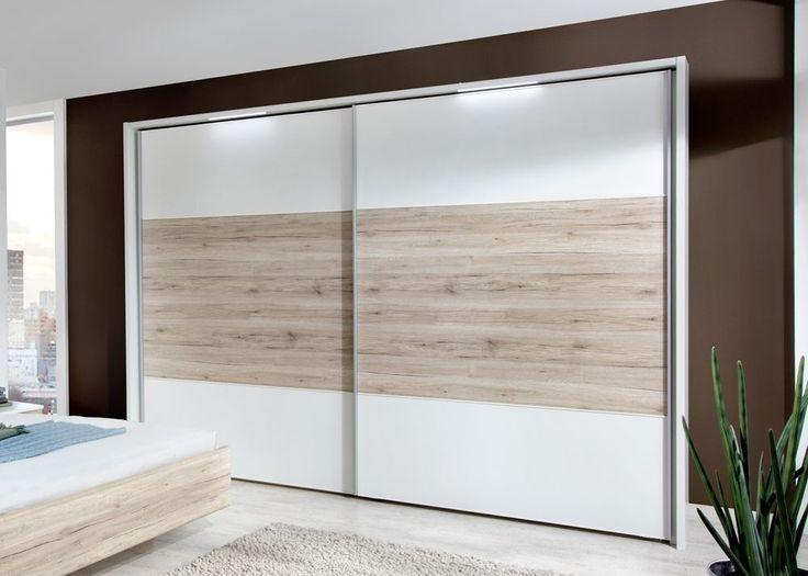 Kleiderschrank Arizona 300,0 Weiß mit Eiche 9336. Buy now at https://www.moebel-wohnbar.de/schwebetuerenschrank-arizona-300-0-cm-alpinweiss-mit-santana-eiche-9336.html