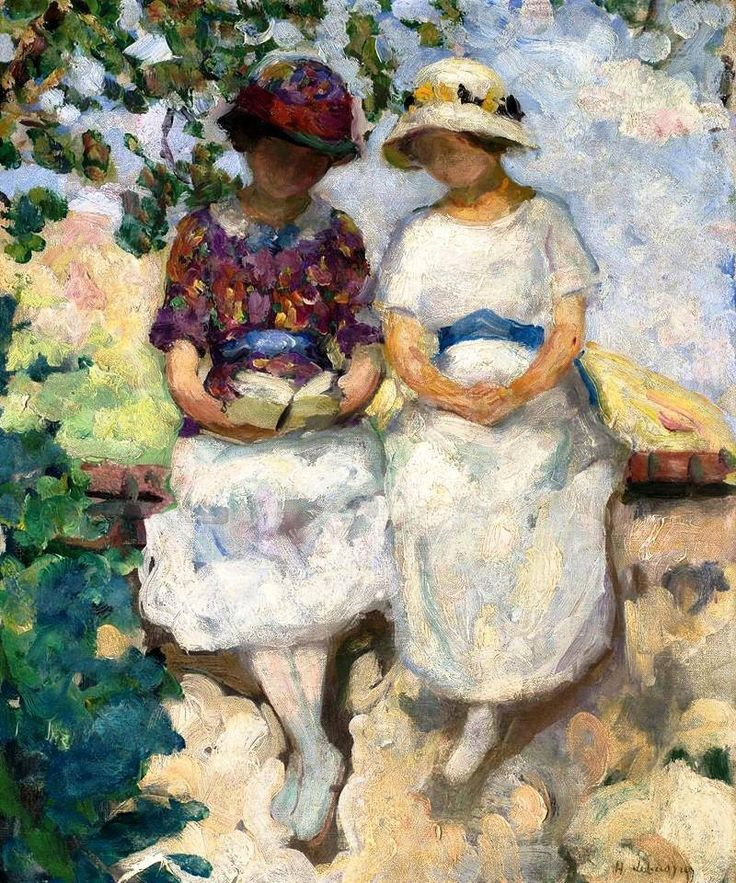 Henri Lebasque (1865-1937) Vézillon, two young girls seated on a wall (1913) oil on canvas
