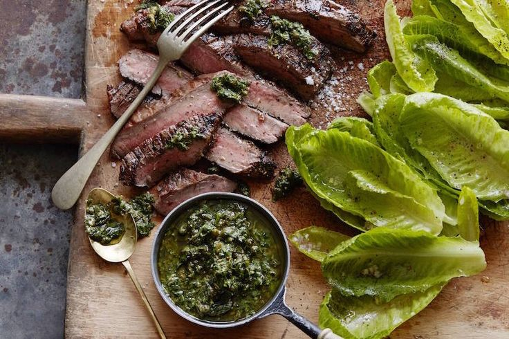 A Grilled Flank Steak with Salsa Verde and a big romaine leaf salad is the perfect way to enjoy a summer night and fire up the BBQ!