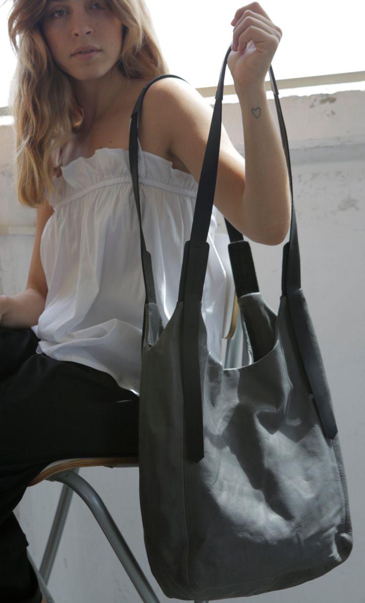Dark grey leather bag- Soft leather bag - Crossbody leather bag - Ccrossbody bags - leather handbag Maxi Bag