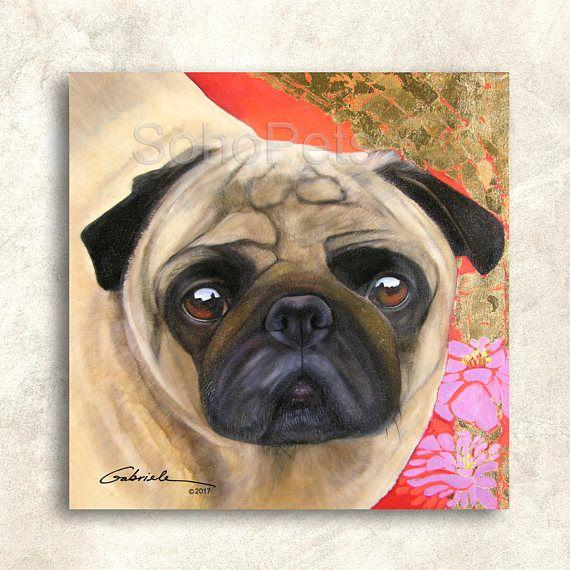 Pug Giclee Print Art Print Dog Art Portrait Fawn Pug Custom