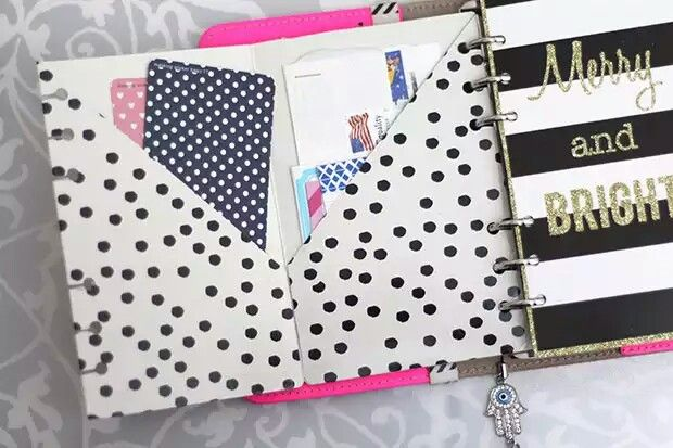 DIY planner pocket http://www.strangecharmed.com/filofax/10-ways-to-personalize-your-planner/