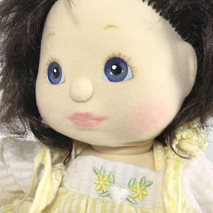 Vintage 1985 Mattel MY CHILD Brunette Hair Blue Eyes Plush Doll Outfit Shoes EUC #Mattel #Doll