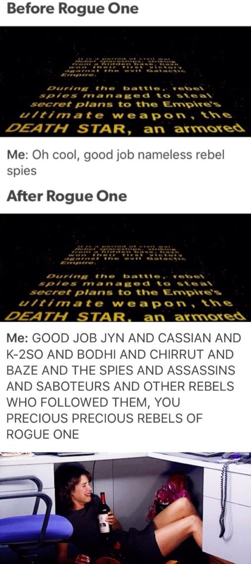 EXACTLY. ME. Rogue One, Jyn Erso, Cassian Andor, K-2SO, Chirrut Îmwe, Baze Malbus, Bodhi Rook, Star Wars