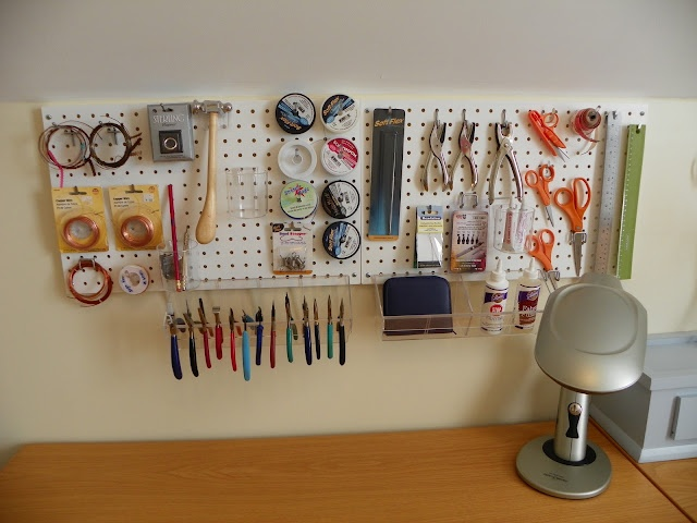 Peg boards are really convenient for #organizing and storing #tools used to create #jewelry