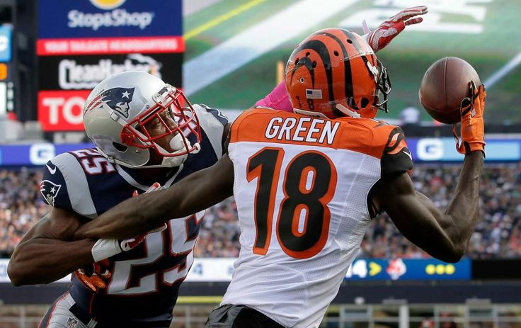 Bengals vs. Patriots:     October 16, 2016  -  35-17, Patriots  -     New England Patriots defensive back Eric Rowe (25) reaches in to break up a pass to Cincinnati Bengals wide receiver A.J. Green (18) in the end zone during the second half of an NFL football game, Sunday, Oct. 16, 2016, in Foxborough, Mass.
