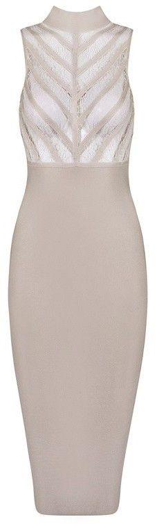 Lace Insert Sleeveless Midi Bandage Dress - Light Khaki