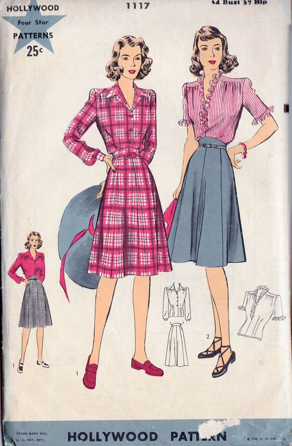 1940s Blouse and Skirt Vintage Sewing Pattern suit outfit ...