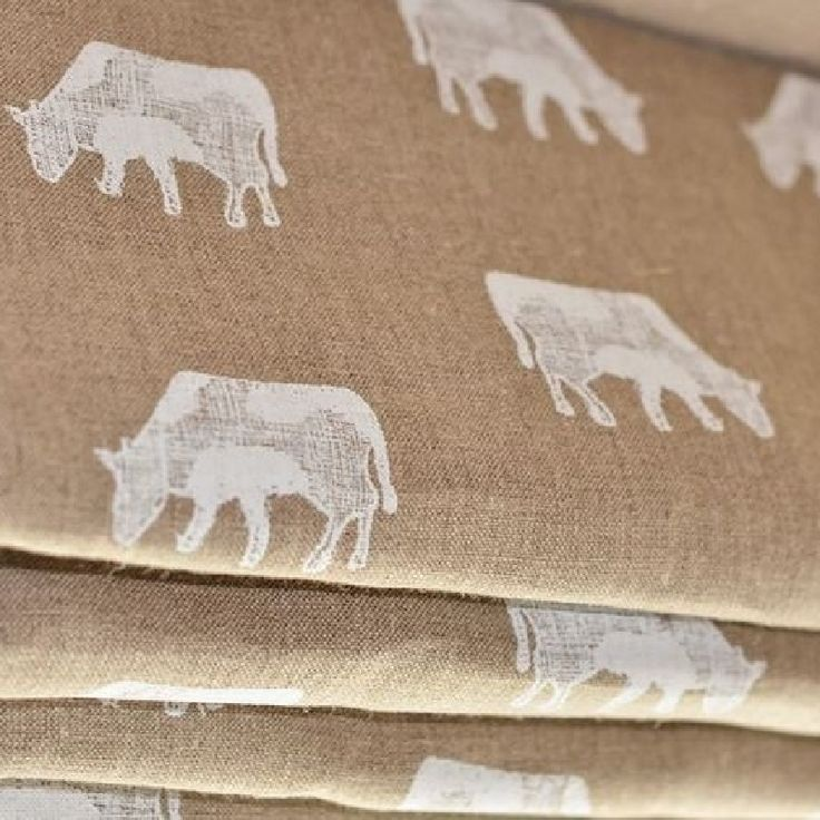 Perfect for kitchens blind and curtains - Dairy Cow fabric by Emily Bond #kitchenfabrics #romanblind