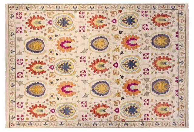 "8'x10'1"" Sari Wool Suzani Rug, Ivory"