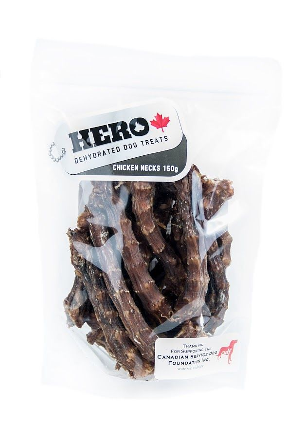 Chicken Necks  - 150gr     11.99 HeroDogTreats™ Chicken Necks are a great dehydrated 100% natural crunchy snack, packed with glucosamine & chondroitin excellent for joint health