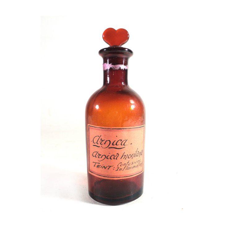 French Vintage Herbalist Bottle, French Vintage Drugstore Vial Arnica Montana