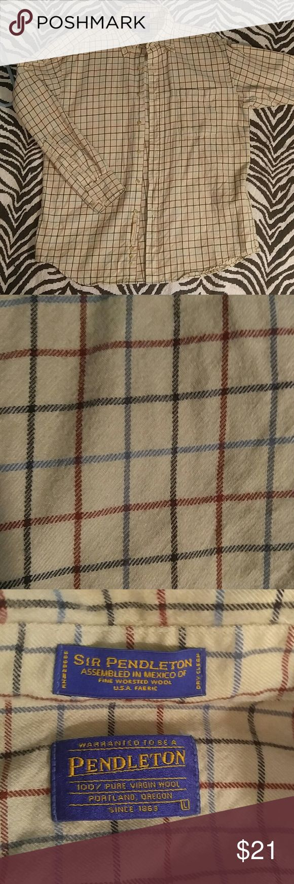 Pendleton patterned flannel button down L Amazing quality and suoer stylish Pendleton wool flannel shirt. Perfect for your fall wardrone and in absolutely fantastic condition! Pendleton Shirts Casual Button Down Shirts