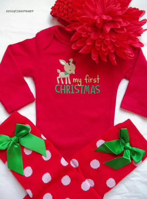 My First Christmas outfit baby girl dress up leg by Ready2ShipShop, $29.50