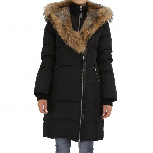 Mackage Trish. This lavish down-filled winter coat features an oversize fur-trimmed hood, angled zip pockets, zip passport and welt interior pockets, ribbed cuffs and hem, two-way zip closure with single button closure concealment, and leather snap...