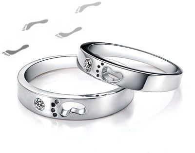 Cheap Foot Print Promise Ring for Young Couples Men and Women