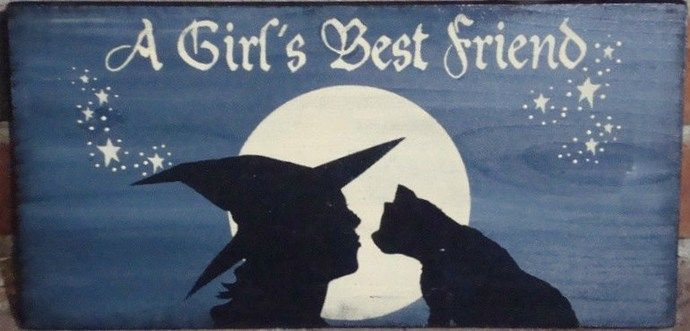 primitive Witches signs cats A girl's best friend sign witchcraft witch halloween Signs decorations wicca wiccan black cats familiar cat art by SleepyHollowPrims, $23.00 USD