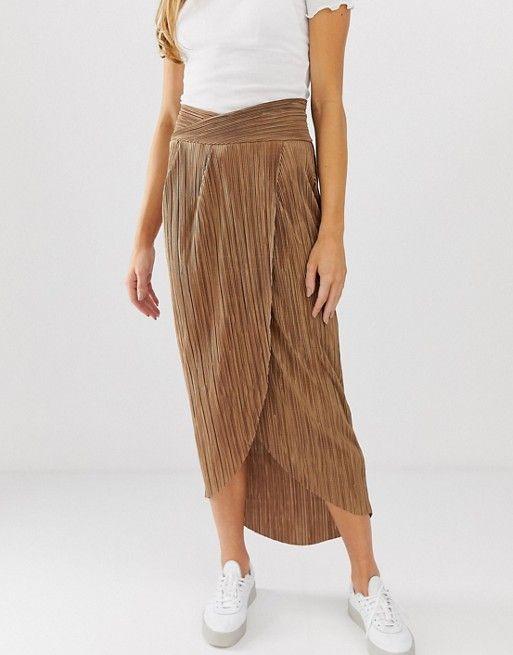 0ffd505cbd60 DESIGN wrap waistband midi skirt in plisse pleat in 2019 | Adult ...