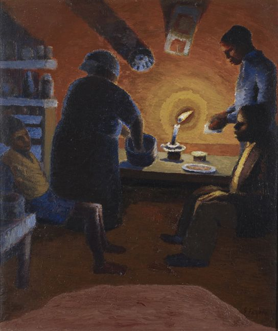 Family with candle, ca 1942,  Gerard Sekoto. South African (1913 - 1993)