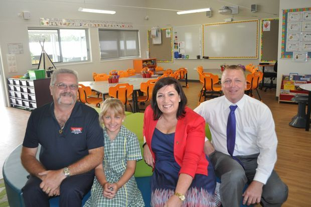 READY FOR LEARNING: John Hardie, Anica Hardie, Leeanne Enoch and Mark Johnstone inside one of the new classrooms.