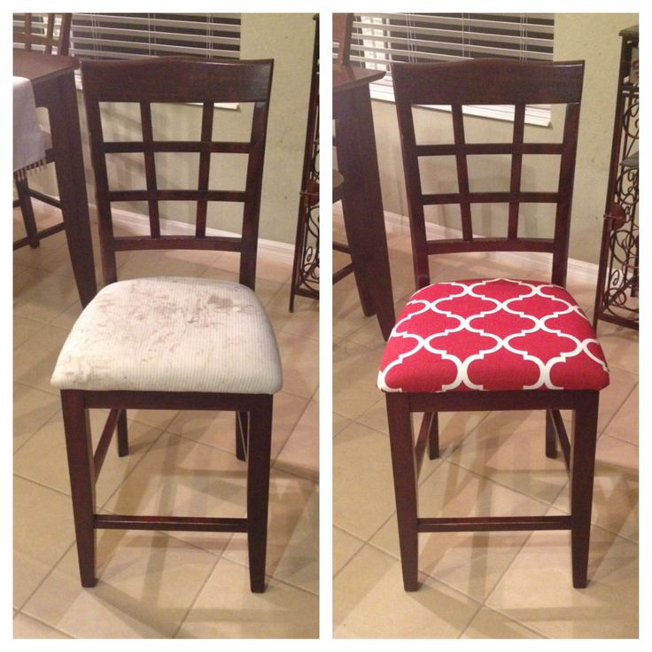 Redone chairs for the dining room table! Way better, I waited to long to do this!
