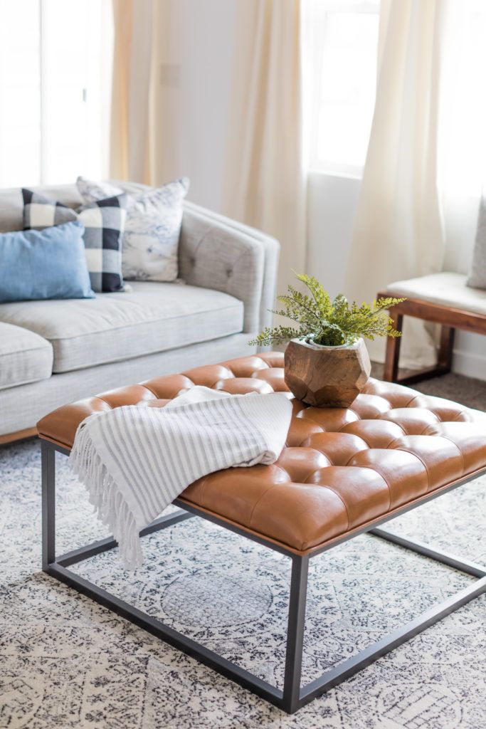 Awesome square leather ottoman that's a great deal too!