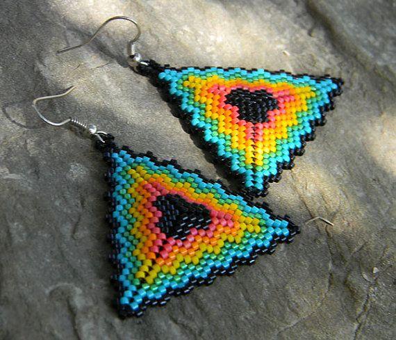 Seed bead earrings - Triangle Peyote Earrings, multicolor | Seed beads | Pinterest | Beads, Beaded earrings and Peyote earrings