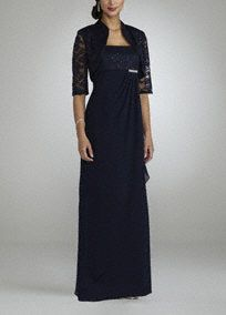 Elegant and sophisticated, you will wow the crowdin this stunning Mother of the Bride ensemble!  Sleeveless bodice features ultra feminine lace and chiffon detail.  Empire waist creates a flattering silhouette.  Long draped skirt is gorgeous and adds dimension.  3/4 sleeve jacket adds just the right amont of coverage.  Fully lined. Back zip. Imported nylon/poly/spandex blend.Hand wash. Also available in plus sizes as Style 99626.