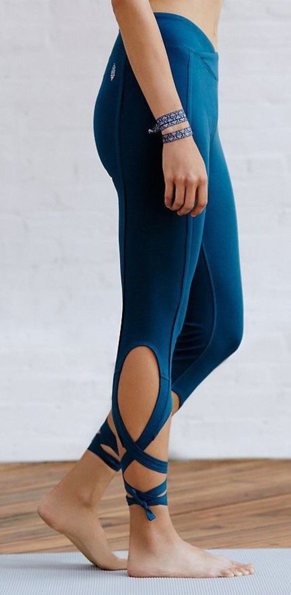 Pants: leggings wrap around yoga workout leggings petrol lace up