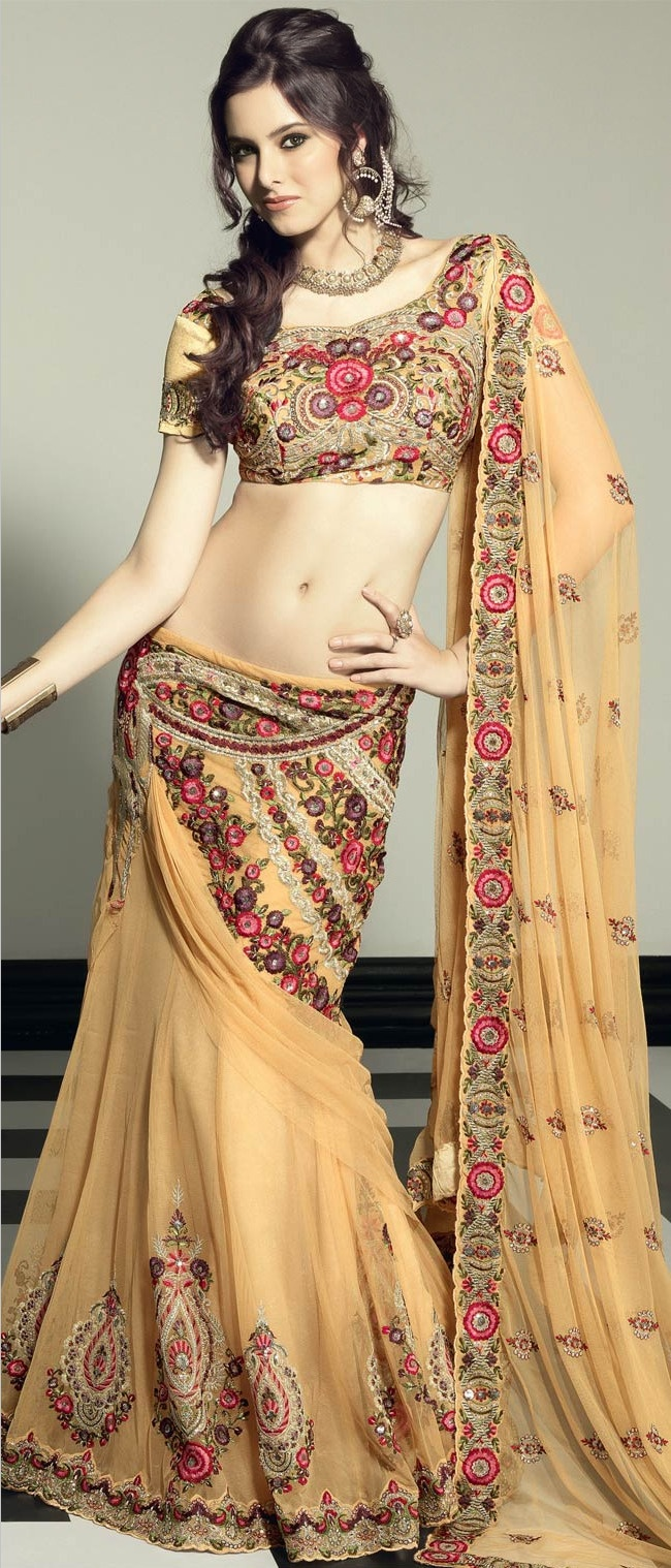 #Beige Net Flared #Lehenga Choli with #Dupatta @ $363.45 | Shop @ http://www.utsavfashion.com/store/sarees-large.aspx?icode=lsl17