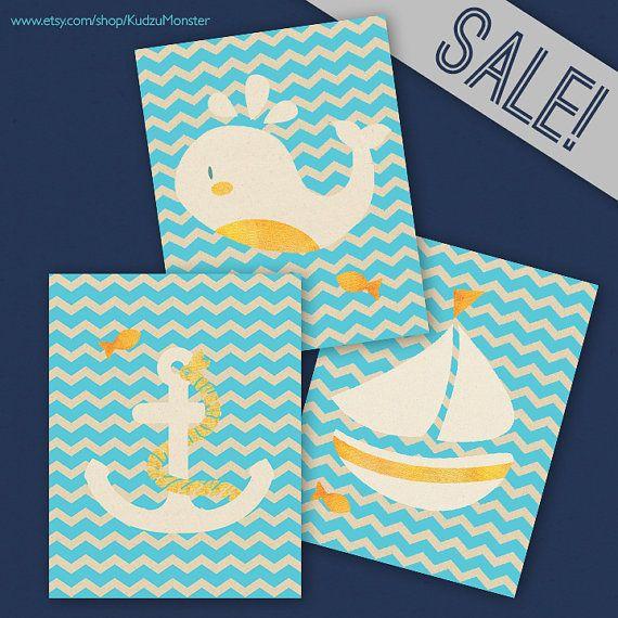 set of three 11x14 nautical prints chevron teal  whale,anchor, sail boat children's art print set https://www.etsy.com/shop/KudzuMonster