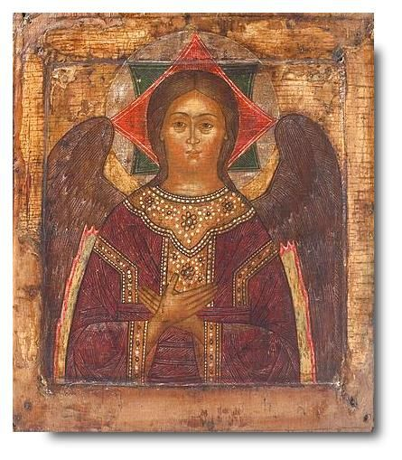 "Image of Jesus Christ in the form of an angel is typical of Byzantine art XIII-XIV centuries. Such, it appears in the story ""The Angel of the Great Council,""Jesus Christ - Sophia the Wisdom of God has the appearance of an angel, who points to Him as the only begotten Son - the Great Angel of the Council. By the same thought timed halo-shaped eight-pointed star, composed of two quadrangles. Octal number of rays, it symbolizes the eighth day of creation."