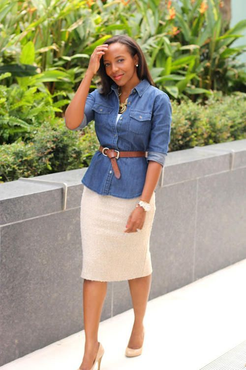 beige pencil skirt / belted denim or chambray shirt / statement necklace / outfit