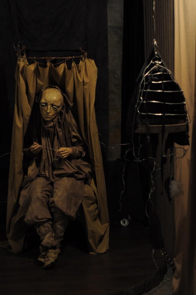 "Puppet theatre 'Mammals'. Scene from play ""Bird"""
