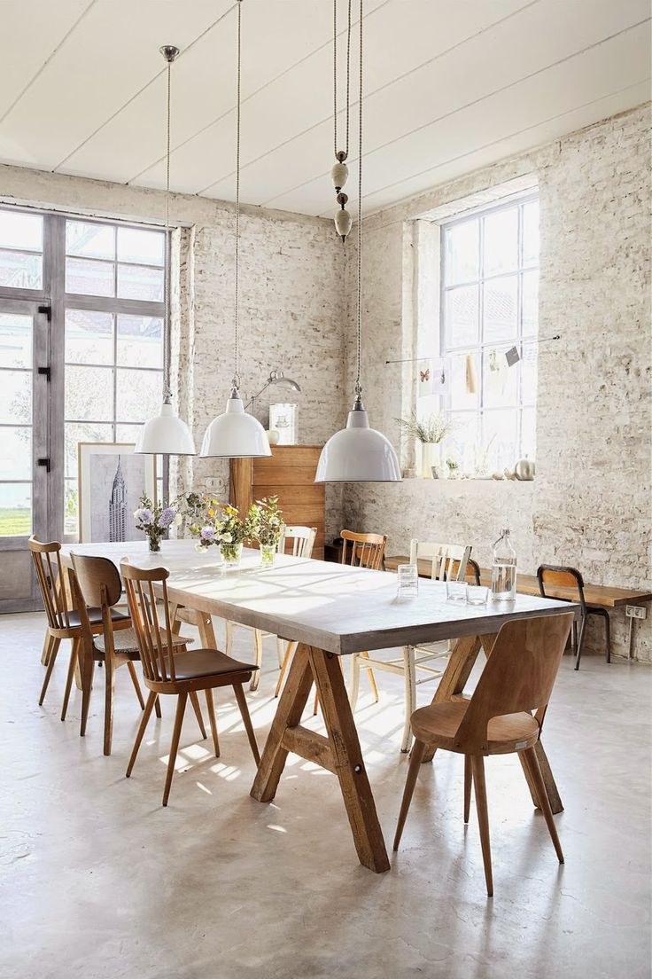 Rustic Dining Room With Painted Brick Walls