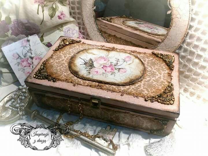 #decoupage # wooden #box #handmade #rękodzieło #decorations #flower
