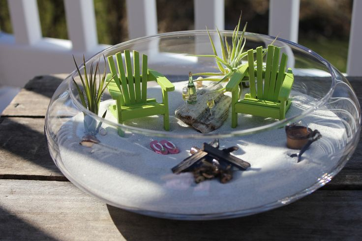 Miniature Beach Vacation for Two with a Campfire and Sand Bucket