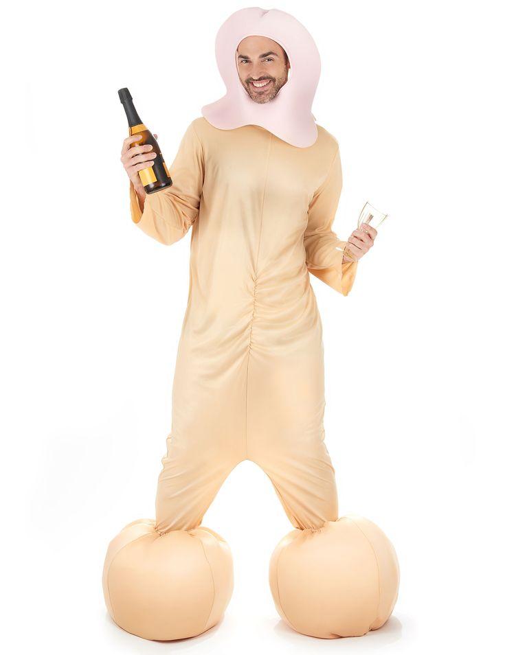 Disfraz de pene para adulto: Este disfraz de pene para adulto está compuesto de una combinación de manga larga, un pasamontañas y un par de cubre botas. La combinación es de color carne y se cierra...