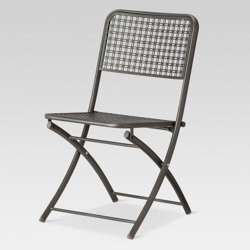 Sensational Metal Punch Folding Patio Bistro Chair Threshold Room Bralicious Painted Fabric Chair Ideas Braliciousco