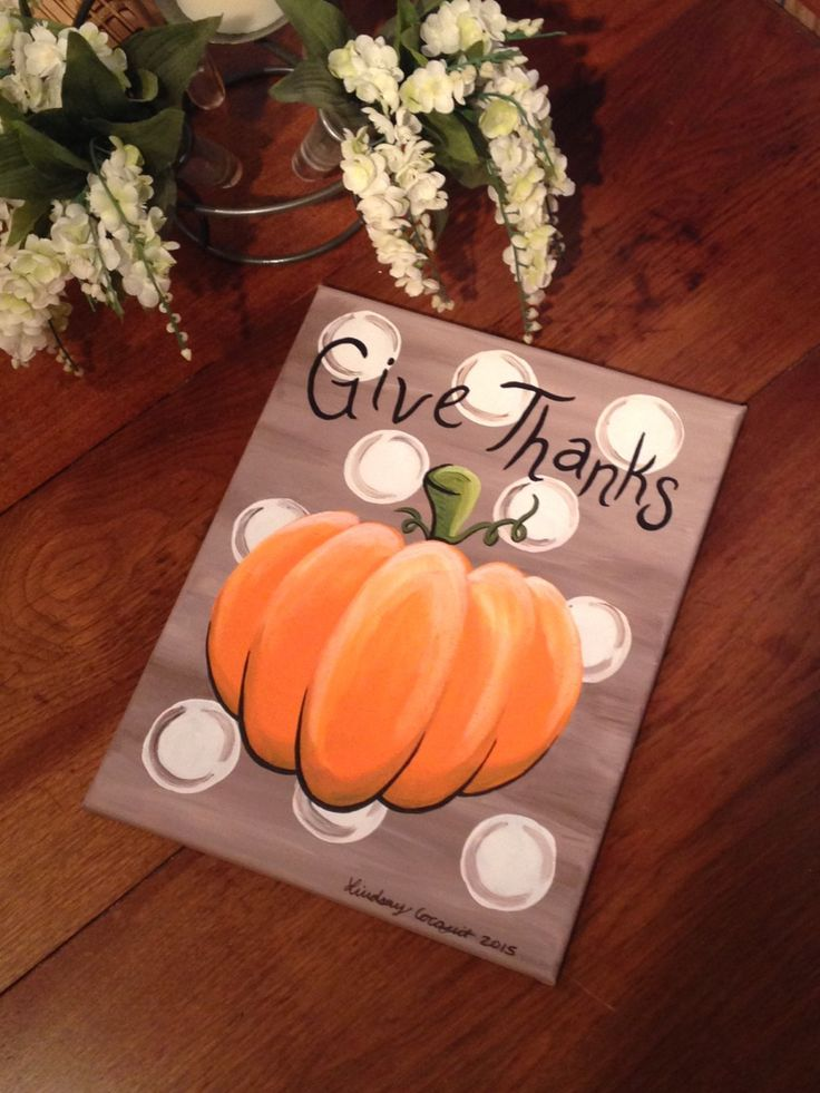 Acrylic Painting of Pumpkin on Canvas- Give Thanks by LCDesignsAndMore on Etsy